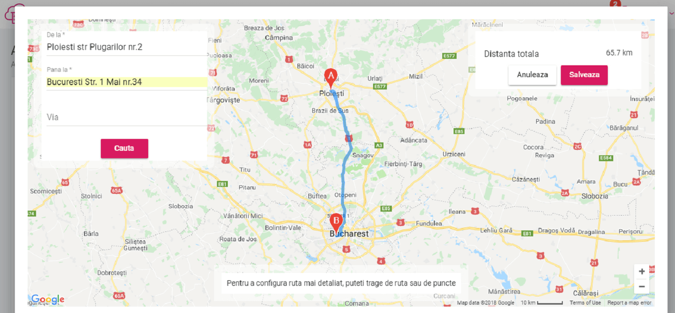 configurare ruta