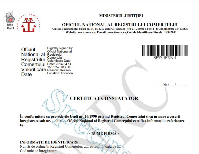 V: 0.7.0 Obtinere Certificat Constatator