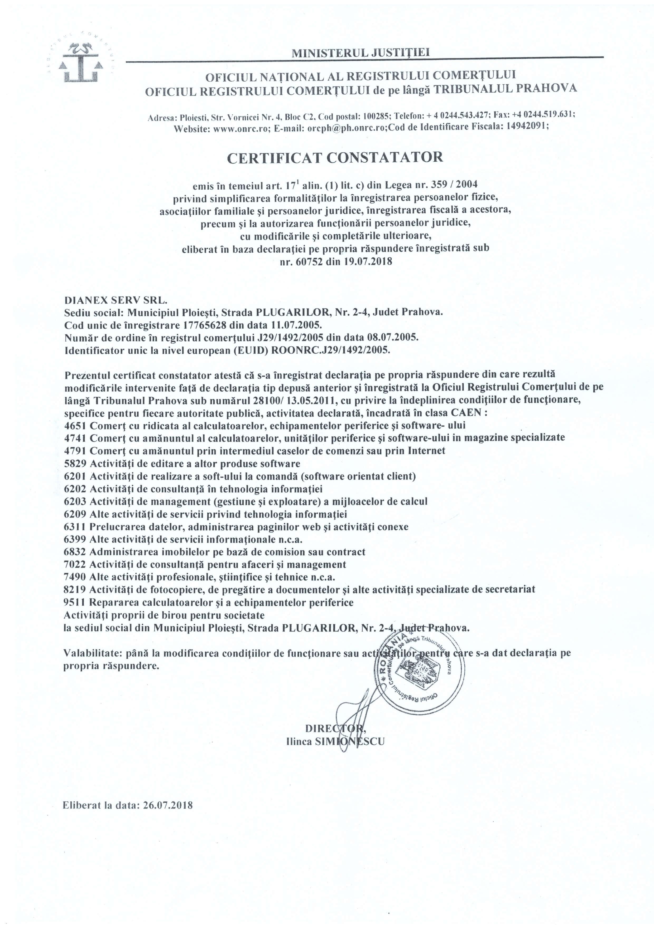 certificat autorizare